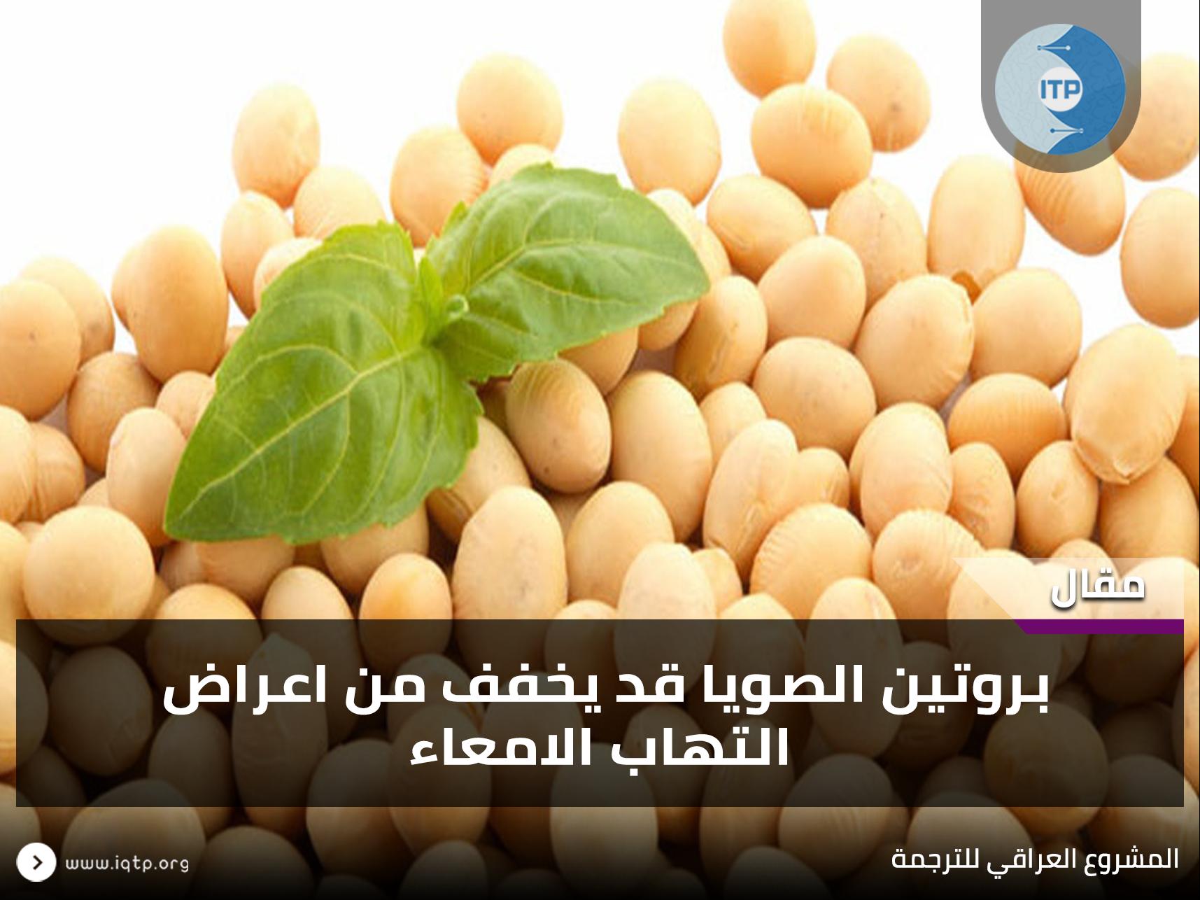 بروتين الصويا قد يخفف من اعراض إلتهاب الامعاء